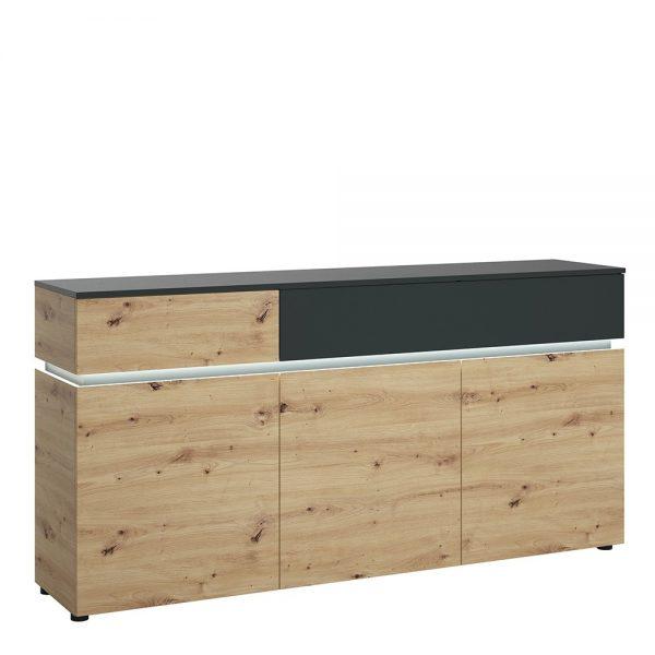 Luci 3 door 2 drawer sideboard (including LED lighting) in Platinum and Oak