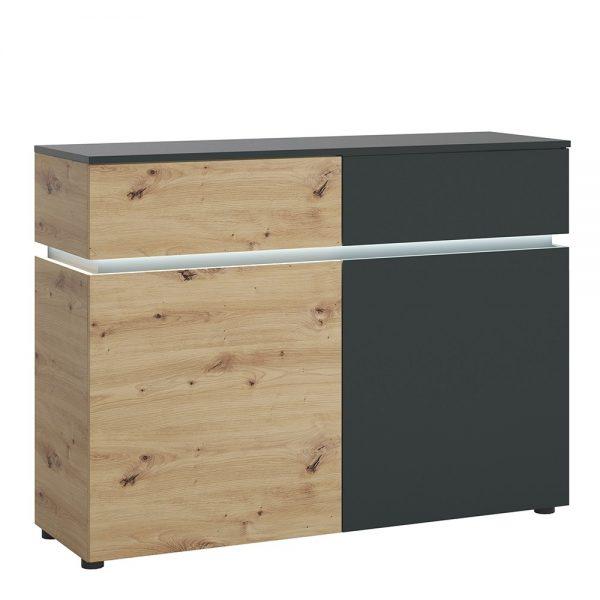 Luci 2 door 2 drawer cabinet (including LED lighting) in Platinum and Oak