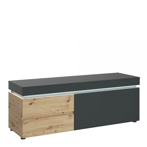 Luci 1 door 2 drawer 150 cm TV unit (including LED lighting) in Platinum and Oak