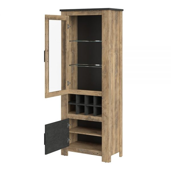 Rapallo 2 door display cabinet with wine rack in Chestnut and Matera Grey