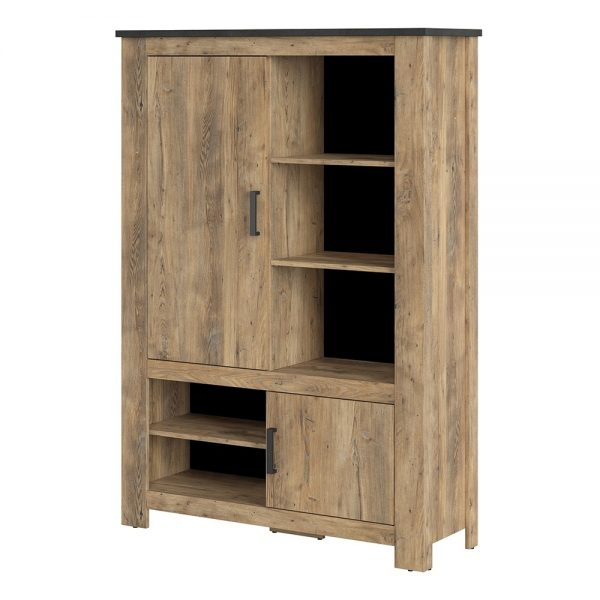 Rapallo 2 door 5 shelves cabinet in Chestnut and Matera Grey