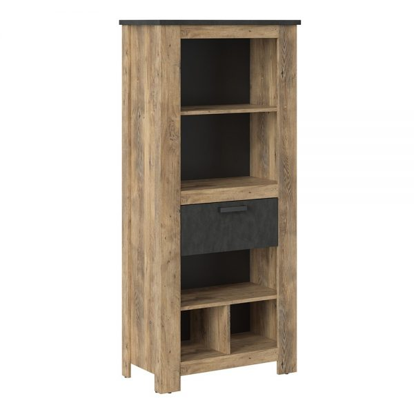 Rapallo 1 drawer bookcase in Chestnut and Matera Grey