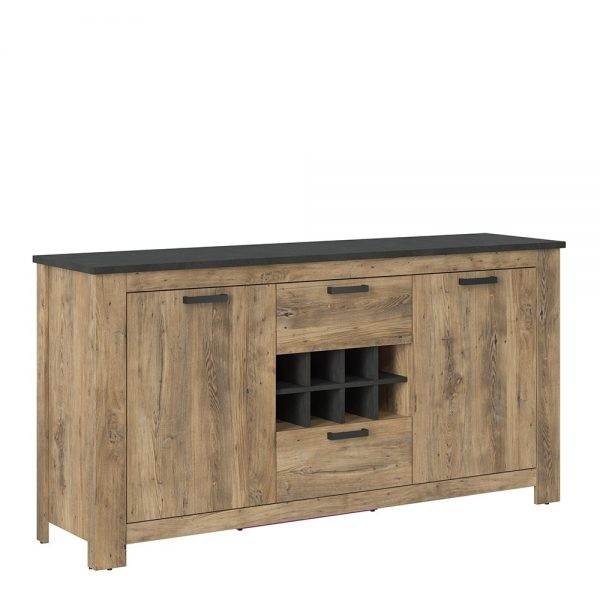 Rapallo 2 door 2 drawer sideboard with wine rack in Chestnut and Matera Grey
