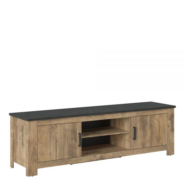 Rapallo 2 door 189 cm wide TV cabinet in Chestnut and Matera Grey