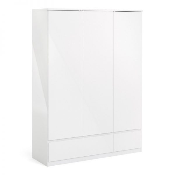 Naia Wardrobe with 3 doors + 2 drawers in White High Gloss
