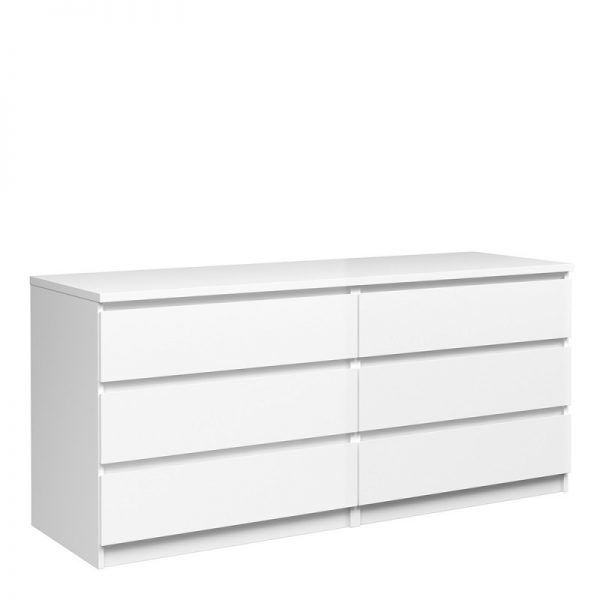 Naia Wide Chest of 6 Drawers (3+3) in White High Gloss