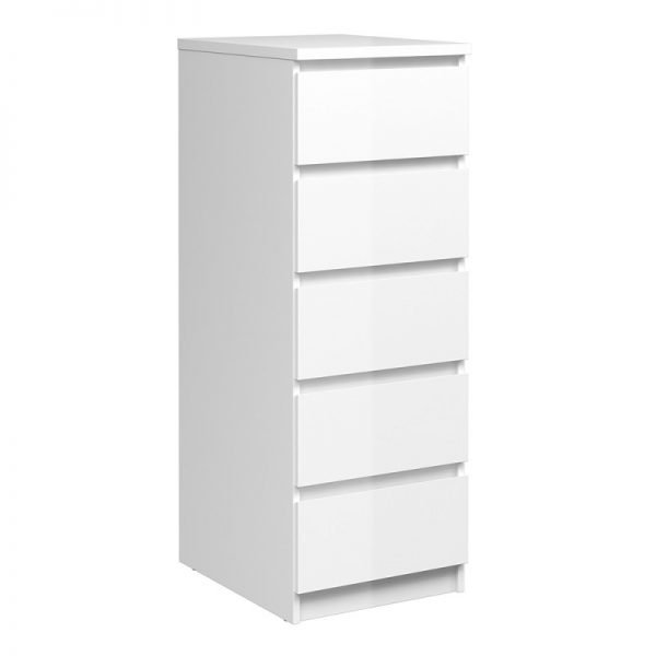 Narrow Chest of 5 Drawers in White High Gloss