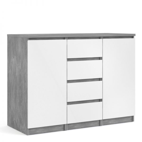Naia Sideboard - 4 Drawers 2 Doors in Concrete and White High Gloss