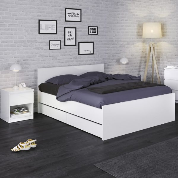 Naia Set of 2 Underbed Drawers (for Single or Double beds) in White High Gloss