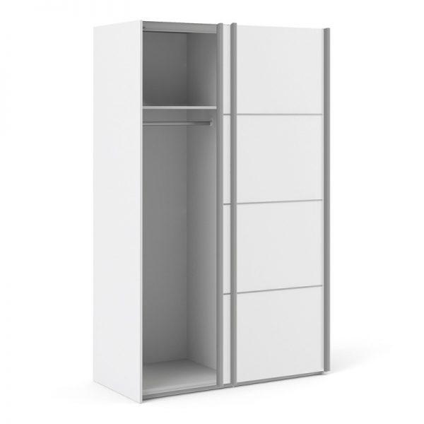 Verona Sliding Wardrobe 120cm in White with White Doors with 2 Shelves