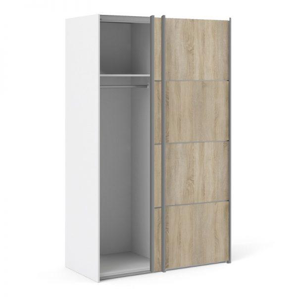 Verona Sliding Wardrobe 120cm in White with Oak Doors with 2 Shelves
