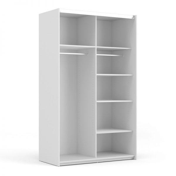 Verona Sliding Wardrobe 120cm in White with Oak Doors with 5 Shelves