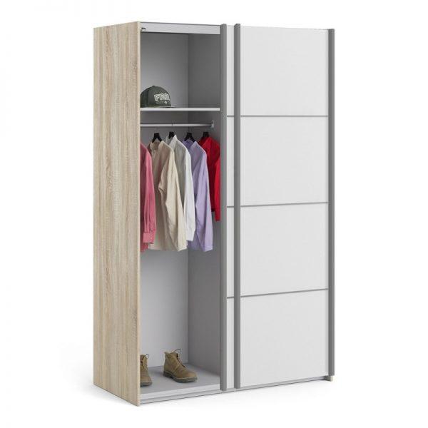 Verona Sliding Wardrobe 120cm in Oak with White Doors with 2 Shelves