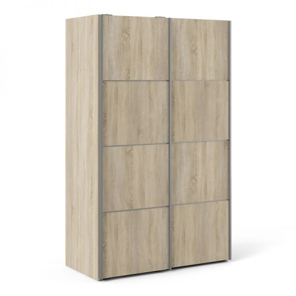 Verona Sliding Wardrobe 120cm in Oak with Oak Doors with 2 Shelves