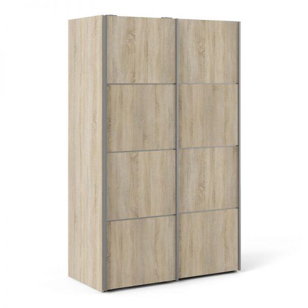 Verona Sliding Wardrobe 120cm in Oak with Oak Doors with 5 Shelves