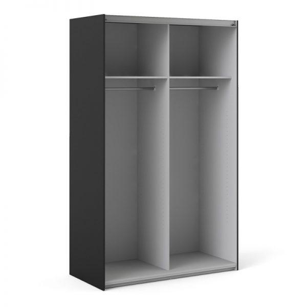 Verona Sliding Wardrobe 120cm in Black Matt with Black Matt Doors with 2 Shelves