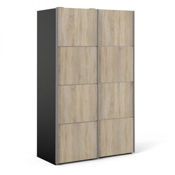 Verona Sliding Wardrobe 120cm in Black Matt with Oak Doors with 2 Shelves