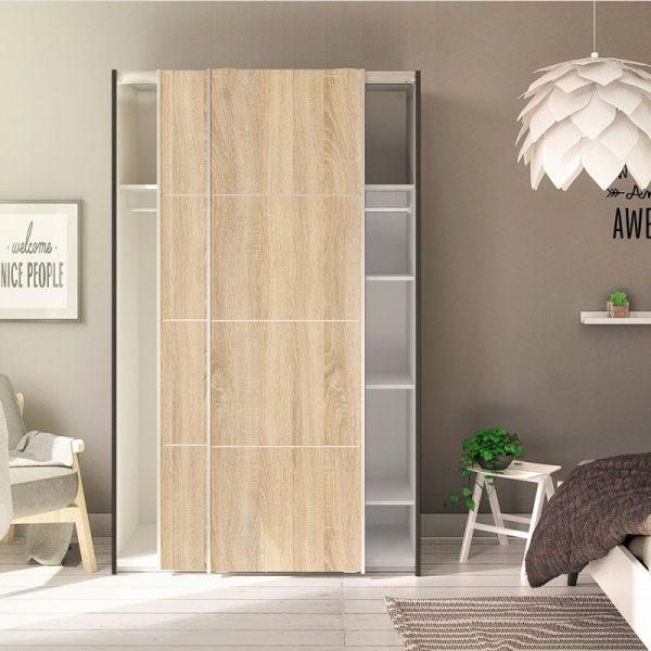 Verona Sliding Wardrobe 120cm in Black Matt with Oak  Doors with 5 Shelves