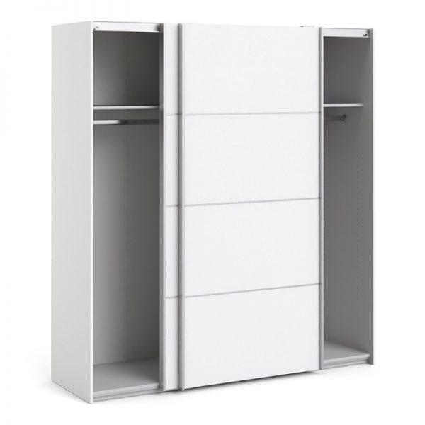 Verona Sliding Wardrobe 180cm in White with White Doors with 2 Shelves
