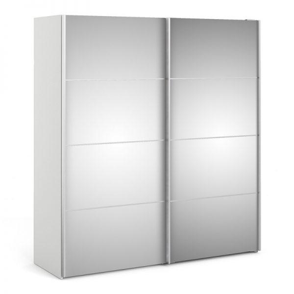 Verona Sliding Wardrobe 180cm in White with Mirror Doors with 2 Shelves