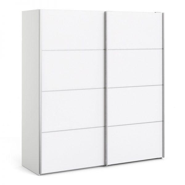 Verona Sliding Wardrobe 180cm in White with White Doors with 5 Shelves