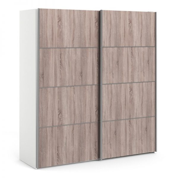 Verona Sliding Wardrobe 180cm in White with Truffle Oak Doors with 5 Shelves