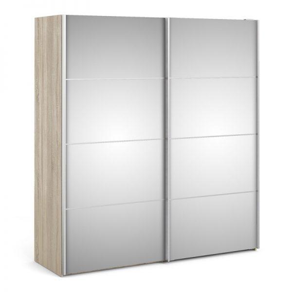 Verona Sliding Wardrobe 180cm in Oak with Mirror Doors with 2 Shelves
