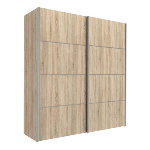 Verona Sliding Wardrobe 180cm in Oak with Oak Doors with 5 Shelves