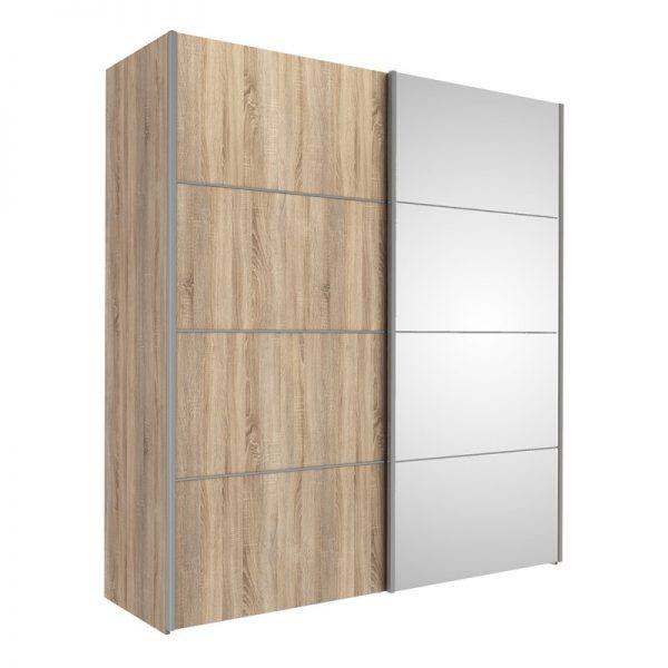 Verona Sliding Wardrobe 180cm in Oak with Oak and Mirror Doors with 5 Shelves