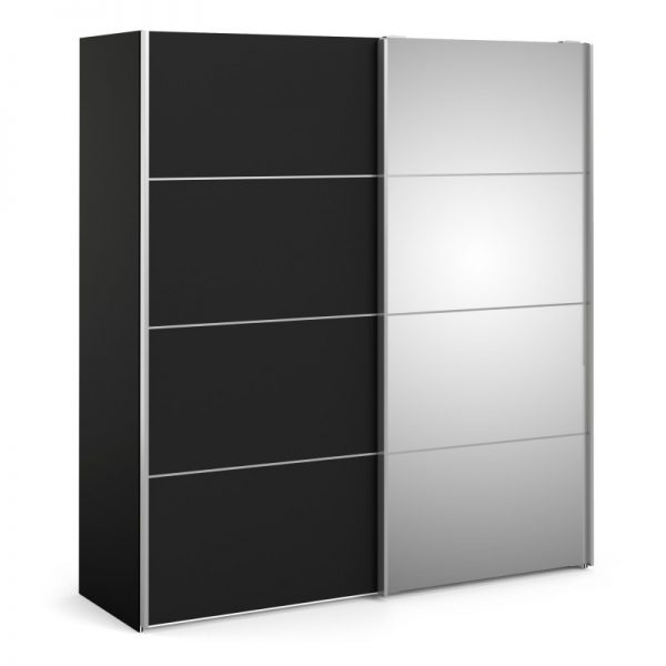 Verona Sliding Wardrobe 180cm in Black Matt with Black Matt and Mirror Doors with 2 Shelves