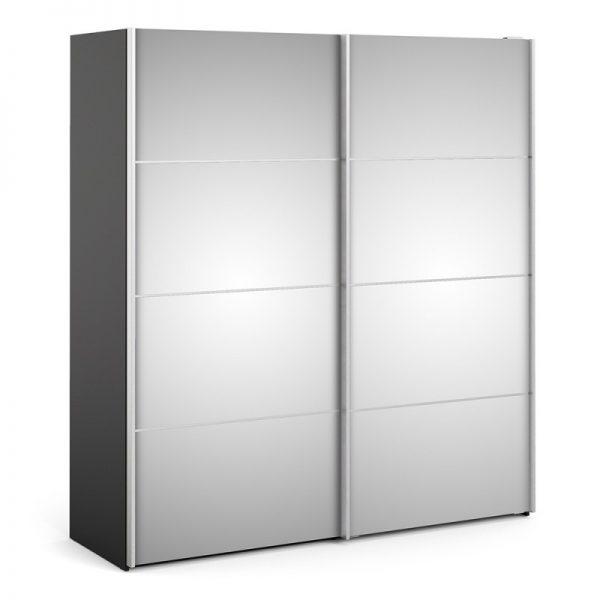 Verona Sliding Wardrobe 180cm in Black Matt with Mirror Doors with 5 Shelves