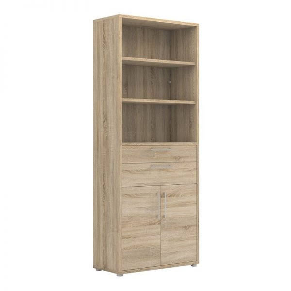 Prima Bookcase 5 Shelves with 2 Drawers and 2 Doors in Oak