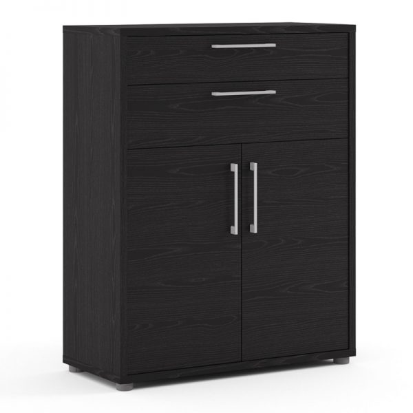 Prima Bookcase 2 Shelves with 2 Drawers and 2 Doors in Black woodgrain