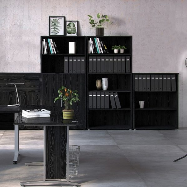Prima Prima Bookcase 2 Shelves in Black woodgrain