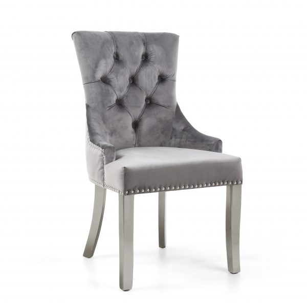 Chester Brushed Velvet Grey Accent Chair in Silver Legs