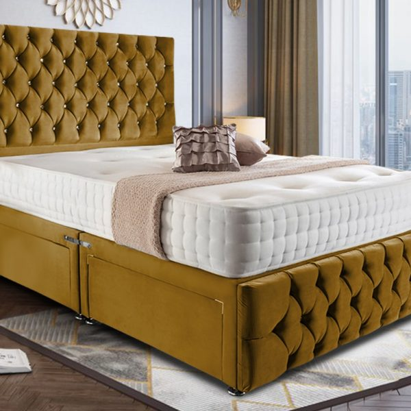 Nevada Divan Bed King Plush Velvet Mustard - King Size