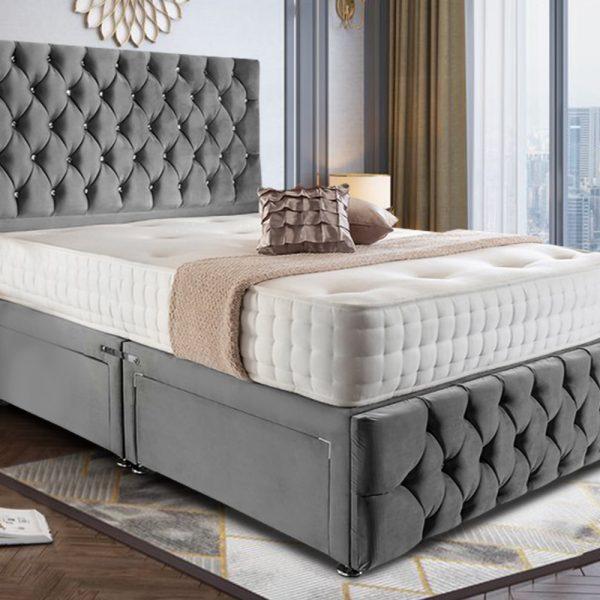 Nevada Divan Bed Super King Plush Velvet Grey - Super King
