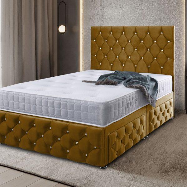 Kenisa Divan Bed Small Double Plush Velvet Mustard - Small Double