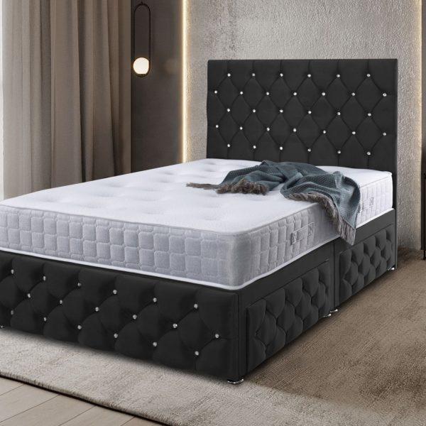 Kenisa Divan Bed King Plush Velvet Black - King Size