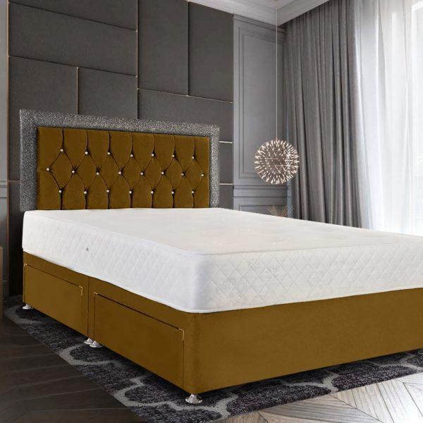 Sicillia Glitter Divan Bed King Plush Velvet Mustard - King Size