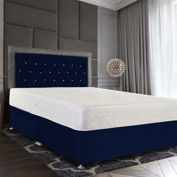 Sicillia Glitter Divan Bed King Plush Velvet Blue - King Size