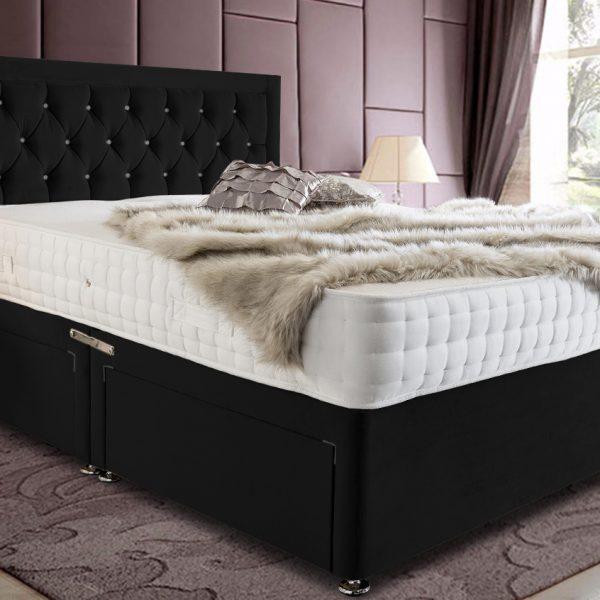 Leeso Divan Bed King Plush Velvet Black - King Size