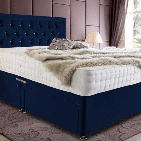 Leeso Divan Bed Double Plush Velvet Blue - Double