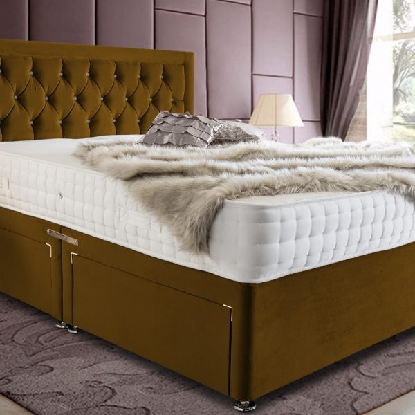 Leeso Divan Bed Small Double Plush Velvet Mustard - Small Double