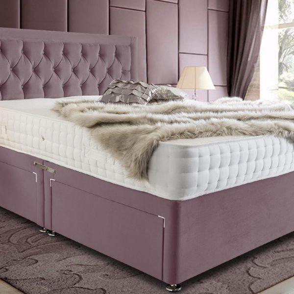 Leeso Divan Bed Single Plush Velvet Pink - Single