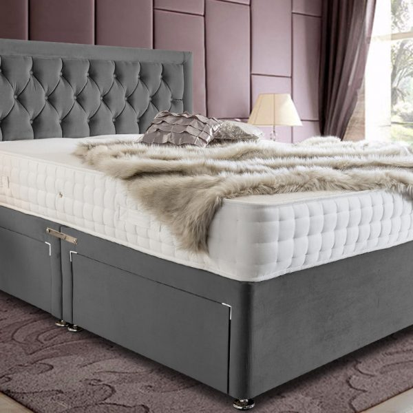 Leeso Divan Bed King Plush Velvet Grey - King Size