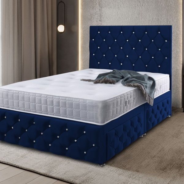 Kenisa Divan Bed Double Plush Velvet Blue - Double