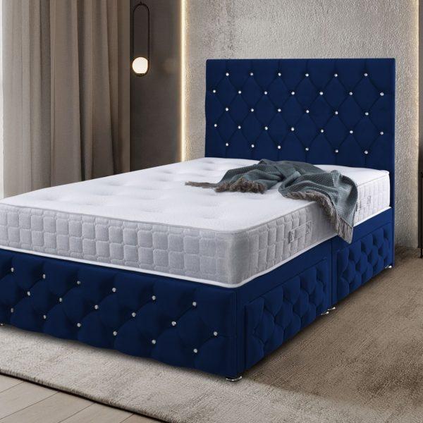 Kenisa Divan Bed Super King Plush Velvet Blue - Super King