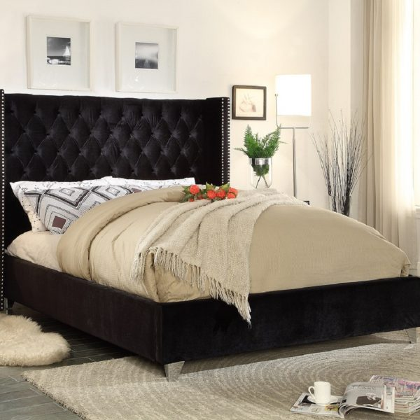 3FT Adriana Bed Single Plush Velvet Black - Single