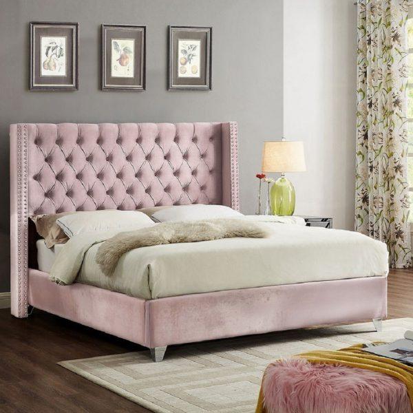 Adriana Bed King Plush Velvet Pink - King Size